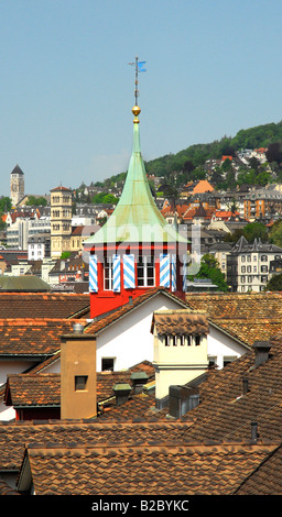 View over the roofs and the historic city centre of Zurich, Switzerland, Europe - Stock Photo