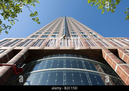 Messeturm Tower by Tishman Speyer, Frankfurt, Hesse, Germany, Europe - Stock Photo