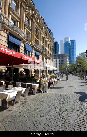 Restaurants in the sun on Opernplatz Square, Frankfurt, Hesse, Germany, Europe - Stock Photo