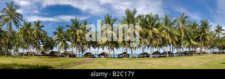 Huts in a palm plantation on the beach, Lombok Island, Lesser Sunda Islands region, Indonesia, Asia - Stock Photo