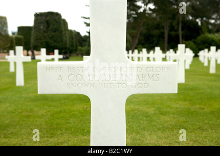 The American Cemetery in Colleville Sur Mer, Normandy, France, were Allied troops who died on D Day June 6th 1944 - Stock Photo