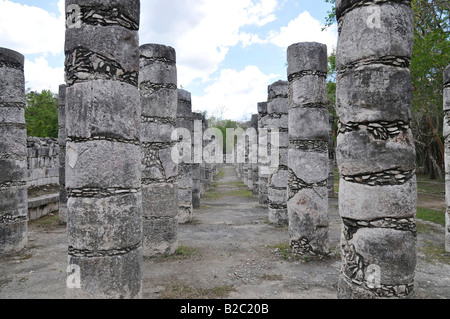 Temple of the Warriors, east colonnade, Zona Nord, Chichen-itza, new wonder of the world, Mayan and Toltec archaeological - Stock Photo