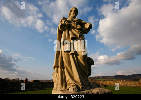 Statue at castle ruins in Arnsberg, Sauerland, North Rhine-Westphalia, Germany, Europe - Stock Photo