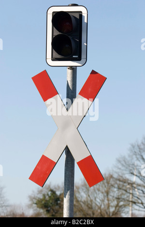 Traffic sign, Andreaskreuz, railway crossing sign, traffic lights on the crossing - Stock Photo