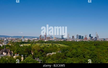 Frankfurt skyline, Deutsche Bank, Commerzbank, Messeturm tower block, German Central Bank, horse track and Niederrad - Stock Photo