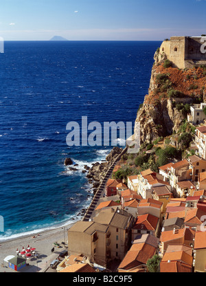 View over rooftops Scilla town and beach Calabria Italy - Stock Photo