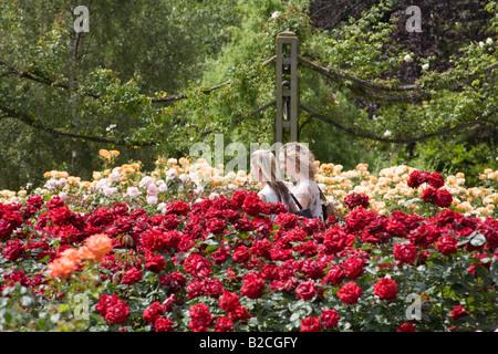 Two women in Rose Garden. Inner Circle, Regent's Park, London, England - Stock Photo