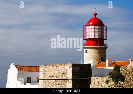 Lighthouse at Cape Saint Vincent, Algarve, Portugal - Stock Photo