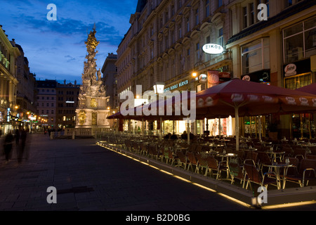 Plague Monument or Trinity Column on Graben Street Vienna Austria UNESCO world heritage - Stock Photo