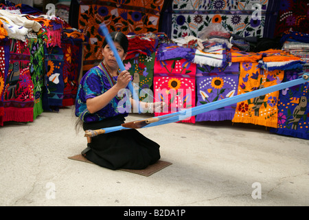 Zinacantan Woman Weaving Traditional Materials, San Lorenzo Zinacantan, Nr San Christobal de las Casas, Chiapas, - Stock Photo