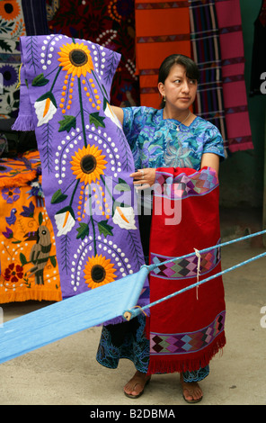 Indigenous Zinacantan Woman with Traditional Materials, San Lorenzo Zinacantan, Nr San Christobal de las Casas, - Stock Photo