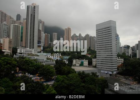 a cloudy misty day on hong kong island , hong kong , china - Stock Photo