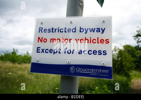 Restricted Byway sign; No motor vehicles - Stock Photo