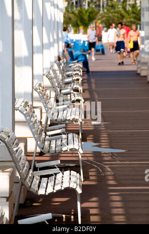 white benches on Promenade des Anglais, Nice, Cote d'Azur, France - Stock Photo