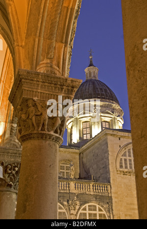 Dubrovnik Old Town's Cathedral Treasury dome from archway of the Rector's Palace - Stock Photo