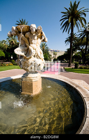 a fountain in Jardin Albert 1er, Nice, Cote d'Azur, France - Stock Photo