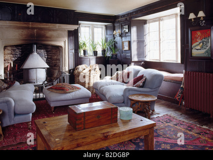 Sofas And Stone Fireplace In The Living Room Inside A