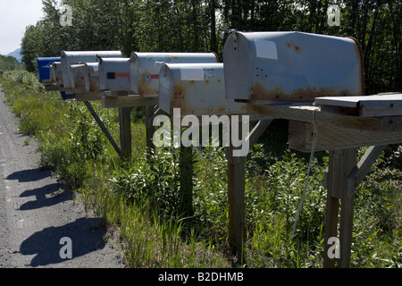 Mail boxes on the roadside. - Stock Photo