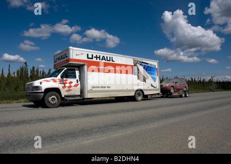 U-haul van on the move in Alaska, Northern America, United States of America - Stock Photo
