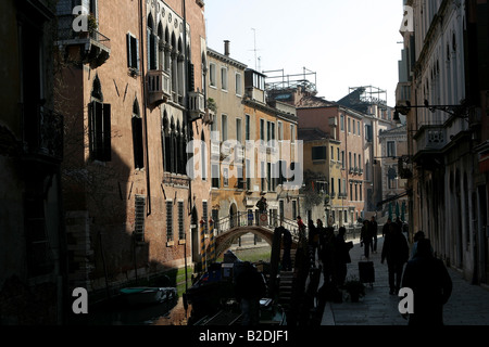 A morning view of canal side life in Venice - Stock Photo