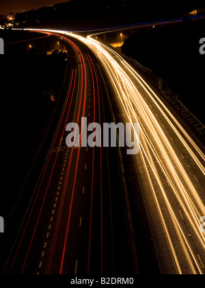 Traffic trails on the A27, Shoreham flyover, Sussex, England, UK - Stock Photo