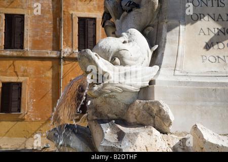 Gargoyles on the obelisk in Piazza della Rotonda Rome Lazio Italy - Stock Photo