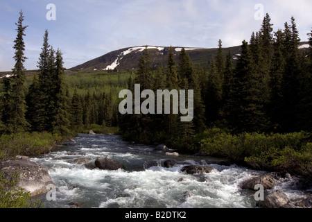 White water river running wild through Alaskan wilderness. - Stock Photo
