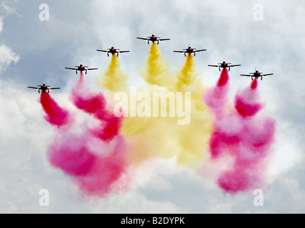 The Patrulla Aguila Spanish Air Force display team are a relatively new team having been formed on July 4th 1985. - Stock Photo