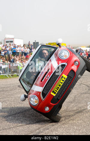 'High skiing', Up on two wheels driving display. The Russ Swift Mini stunt car Trick Display Team, Arbroath Seafront - Stock Photo