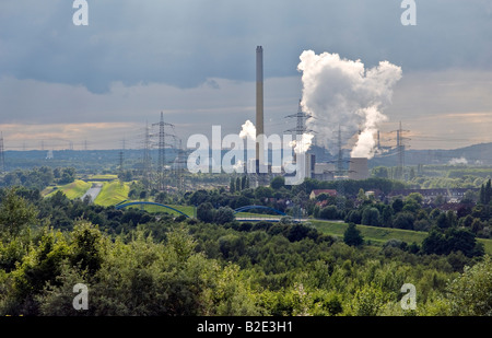 Emscher River waste water canal, Bostrop, Ruhr Valley, Germany. Garbage combustion power plant Essen-Karnap run - Stock Photo