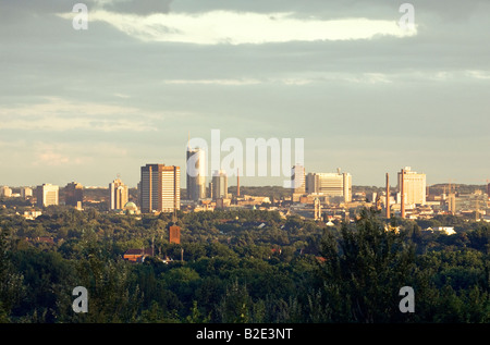 Essen, Ruhr Valley, North Rhine-Westphalia, Germany. City centre including the City Hall and the RWE Tower - Stock Photo