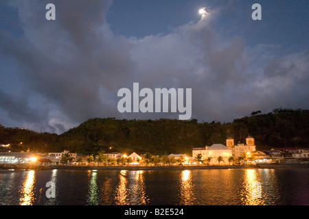 St Pierre Martinique West Indies at night under a full moon. - Stock Photo