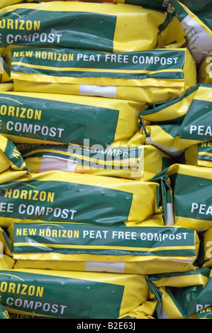 organic peat free compost on sale at garden centre 2 stock photo
