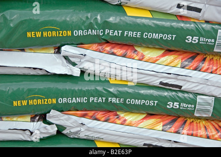 organic peat free compost on sale in garden centre 1 stock photo