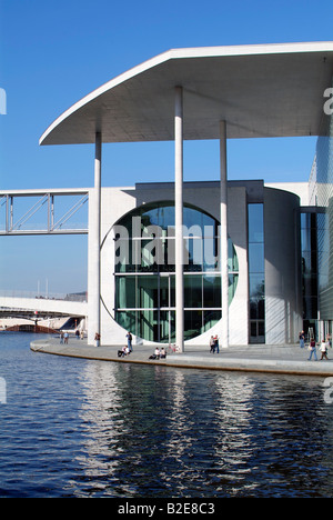 Government building at waterfront Marie-Elisabeth Ludershaus Haus Spree River Berlin Germany - Stock Photo