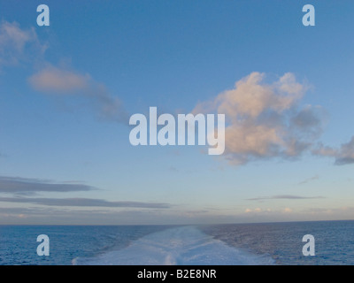 Wake trail of ship in sea, Canary Islands, Spain - Stock Photo