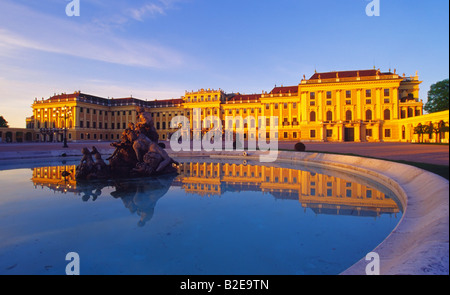 Fountain in front of palace Schonbrunn Palace Vienna Austria - Stock Photo