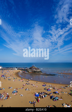 Aerial view of tourists on beach Viking Bay Kent England - Stock Photo
