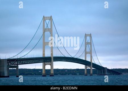The Mackinac Bridge spanning the Straits of Mackinac at Mackinaw City Michigan - Stock Photo