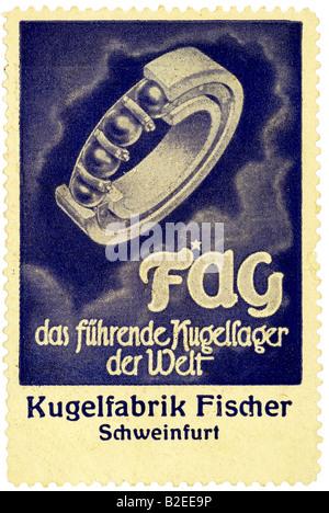 trading stamp FAG das führende Kugellager der Welt Kugelfabrik Fischer Schweinfurt - Stock Photo