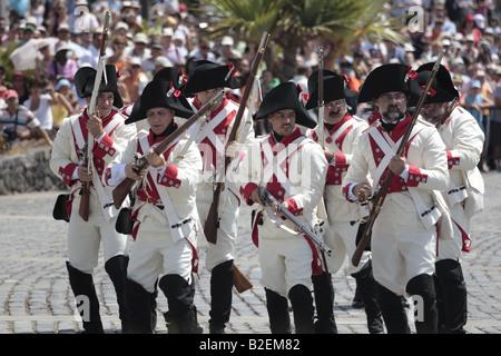 The Batallon de Canarias prepare to charge during a reenactment of the 1797 battle of Santa Cruz, Tenerife