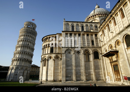 The Leaning Tower & Duomo Cathedral, Pisa, Tuscany, Italy - Stock Photo