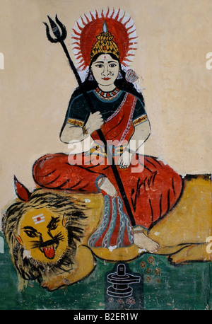 Painting on Hindu temple wall of the Hindu goddess Durga , India - Stock Photo