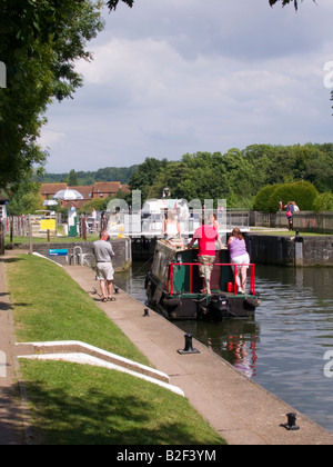 People enjoying boating on the River Thames, Temple Lock, Berkshire, England, UK - Stock Photo