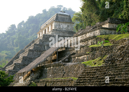 Temple of Inscriptions and Temple XIII, Palenque Archeological Site, Chiapas State, Mexico. - Stock Photo