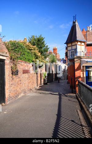 Alley way in High Town, Bridgnorth, Shropshire showing High Town Castle Railway Co Ltd Ticket Office on the right - Stock Photo