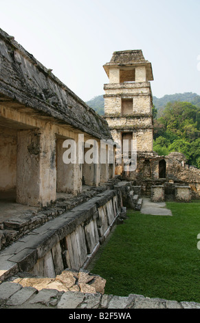 Inner Courtyard of the Palace and Tower Observatory, Palenque Archeological Site, Chiapas State, Mexico - Stock Photo