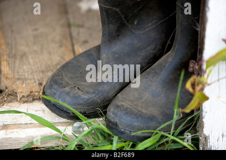Wellington Boots in a garden shed entrance - Stock Photo