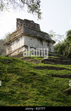 Temple of the Sun, Palenque Archeological Site, Chiapas State, Mexico - Stock Photo