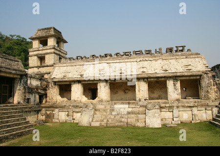 Inner Courtyard of the Palace with Stone Relief Carvings on the Walls, Palenque Archeological Site, Chiapas State, - Stock Photo